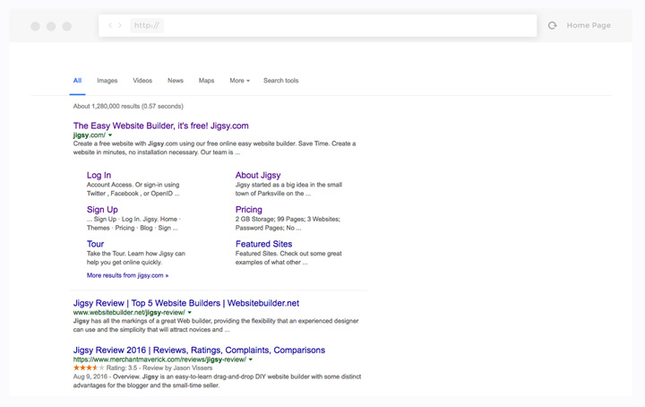 Search Results displayed in Browser